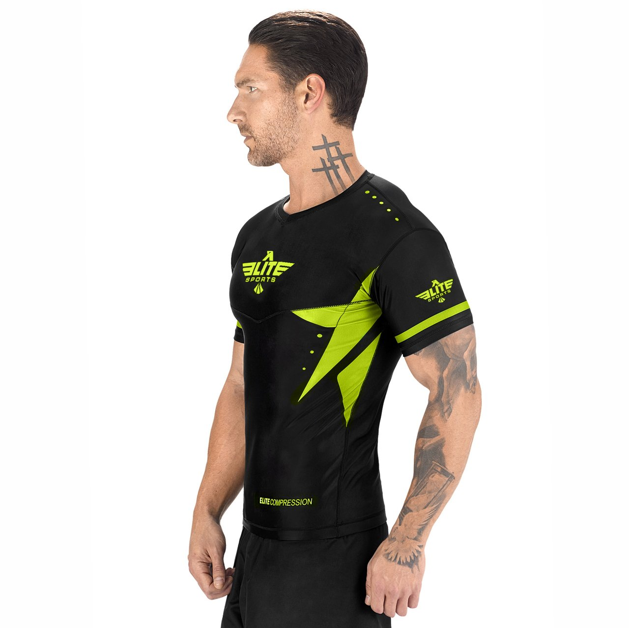 Load image into Gallery viewer, Elite Sports Star Series Sublimation Black/Hi Viz Short Sleeve Judo Rash Guard