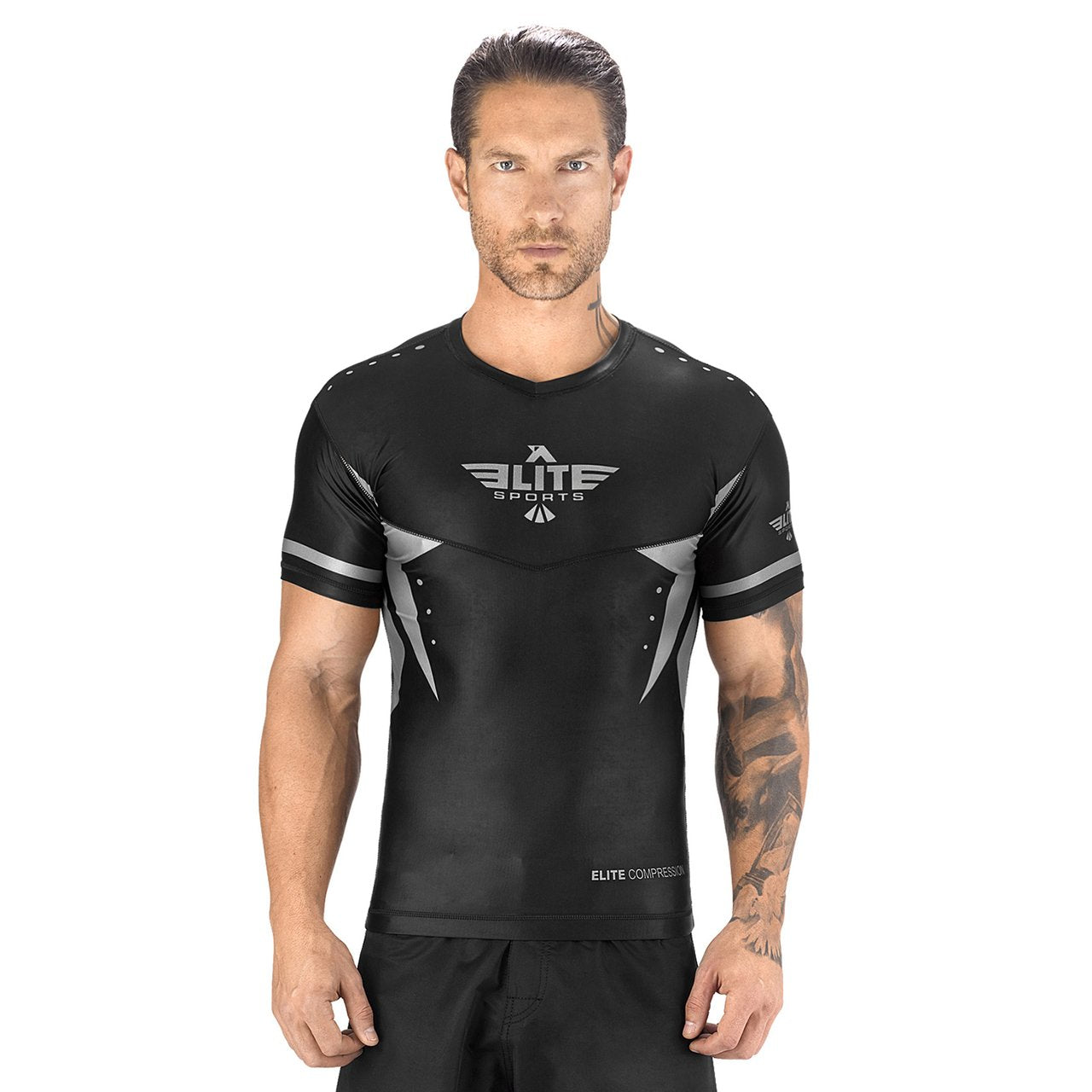 Load image into Gallery viewer, Elite Sports Star Series Sublimation Black/Gray Short Sleeve Rash Guard