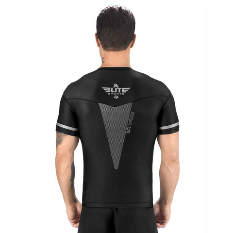 Elite Sports Star Series Sublimation Black/Gray Short Sleeve Rash Guard