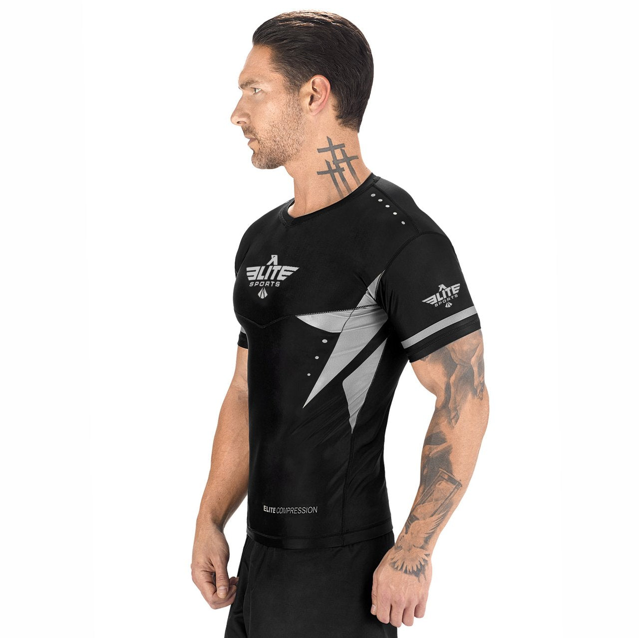 Load image into Gallery viewer, Elite Sports Star Series Sublimation Black/Gray Short Sleeve MMA Rash Guard