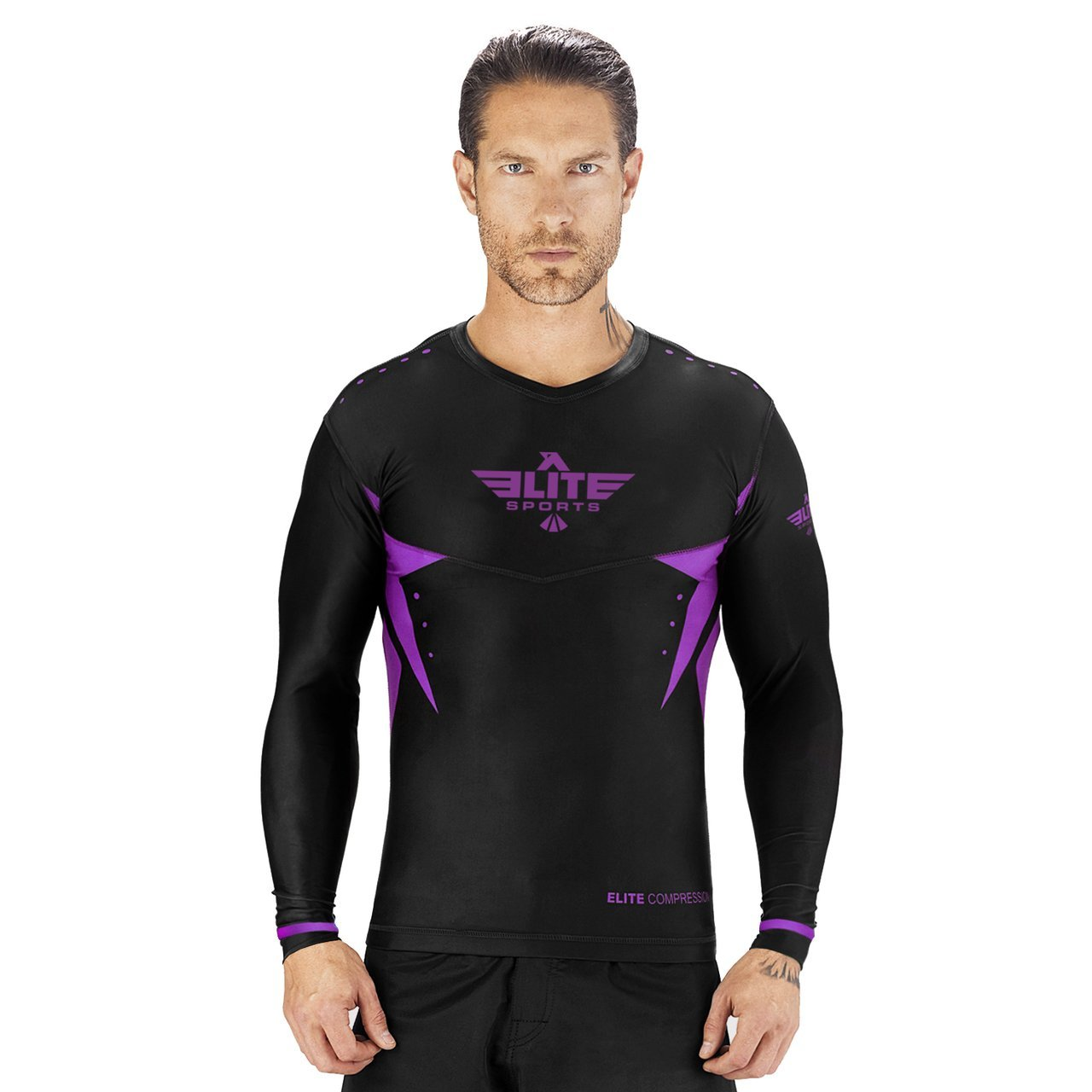Load image into Gallery viewer, Elite Sports Star Series Sublimation Black/Purple Long Sleeve Wrestling Rash Guard