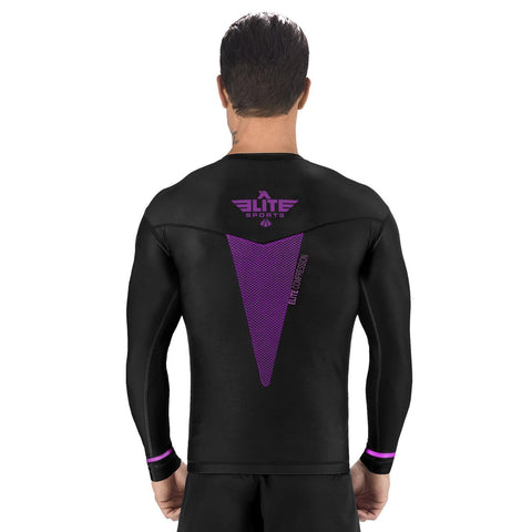 Elite Sports Star Series Sublimation Black/Purple Long Sleeve Wrestling Rash Guard