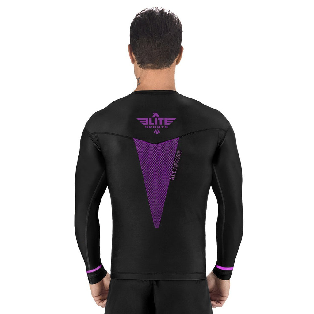 Elite Sports Star Series Sublimation Black/Purple Long Sleeve Judo Rash Guard