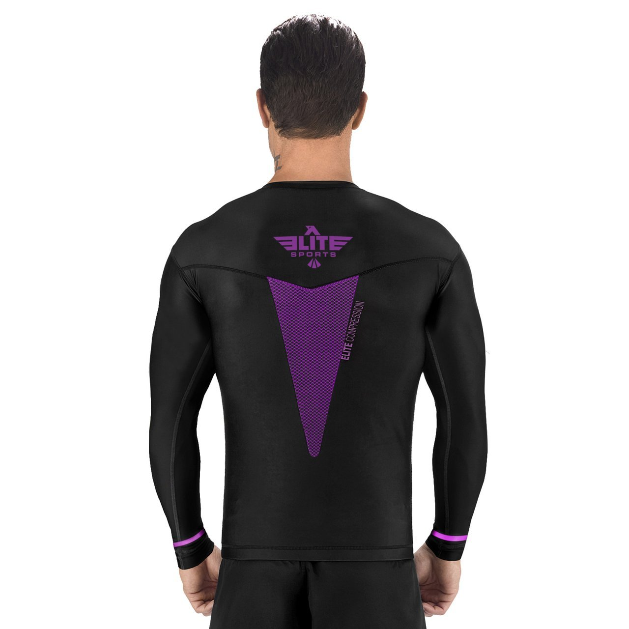 Load image into Gallery viewer, Elite Sports Star Series Sublimation Black/Purple Long Sleeve Judo Rash Guard