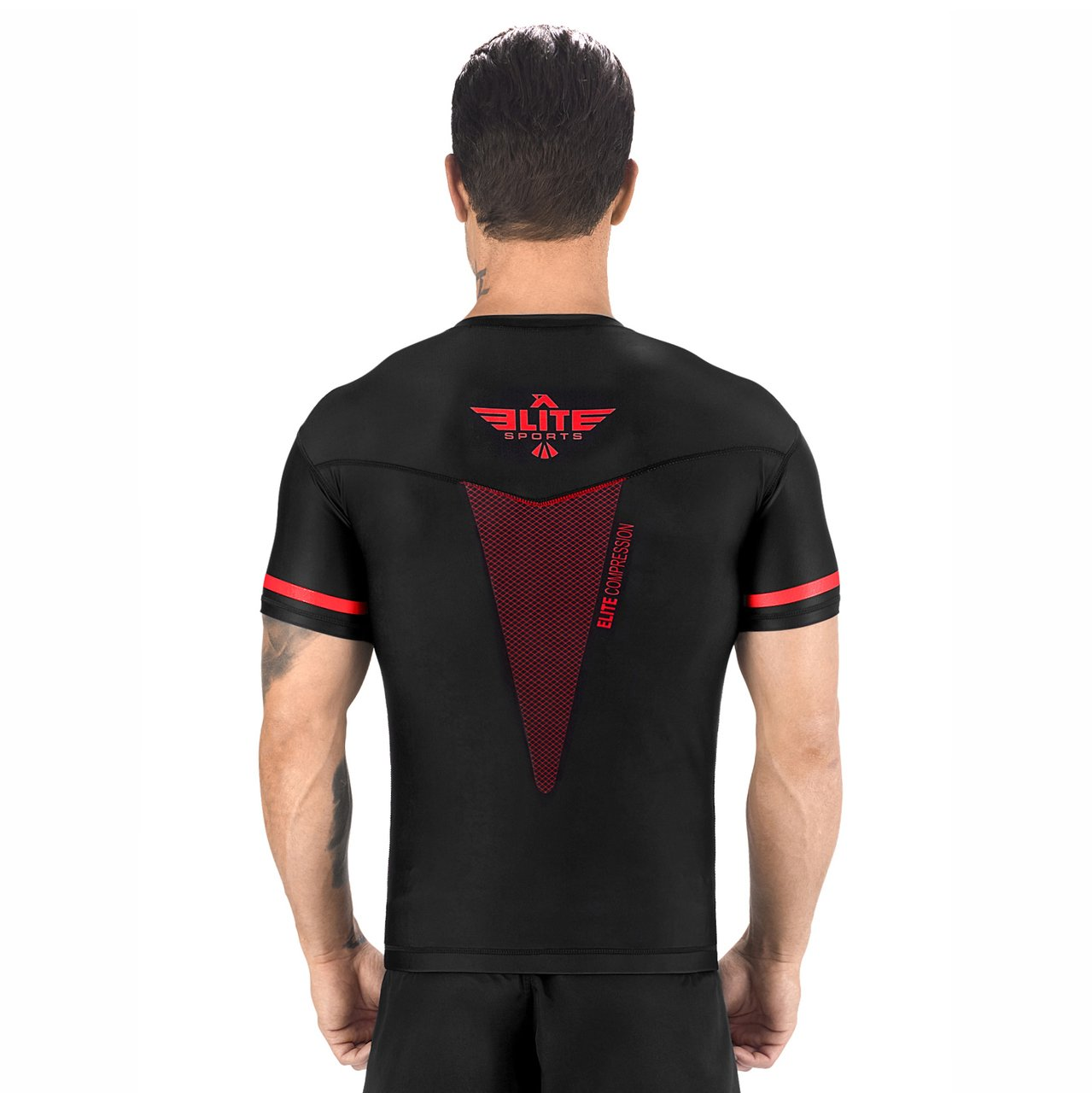 Load image into Gallery viewer, Elite Sports Star Series Sublimation Black/Red Short Sleeve Rash Guard