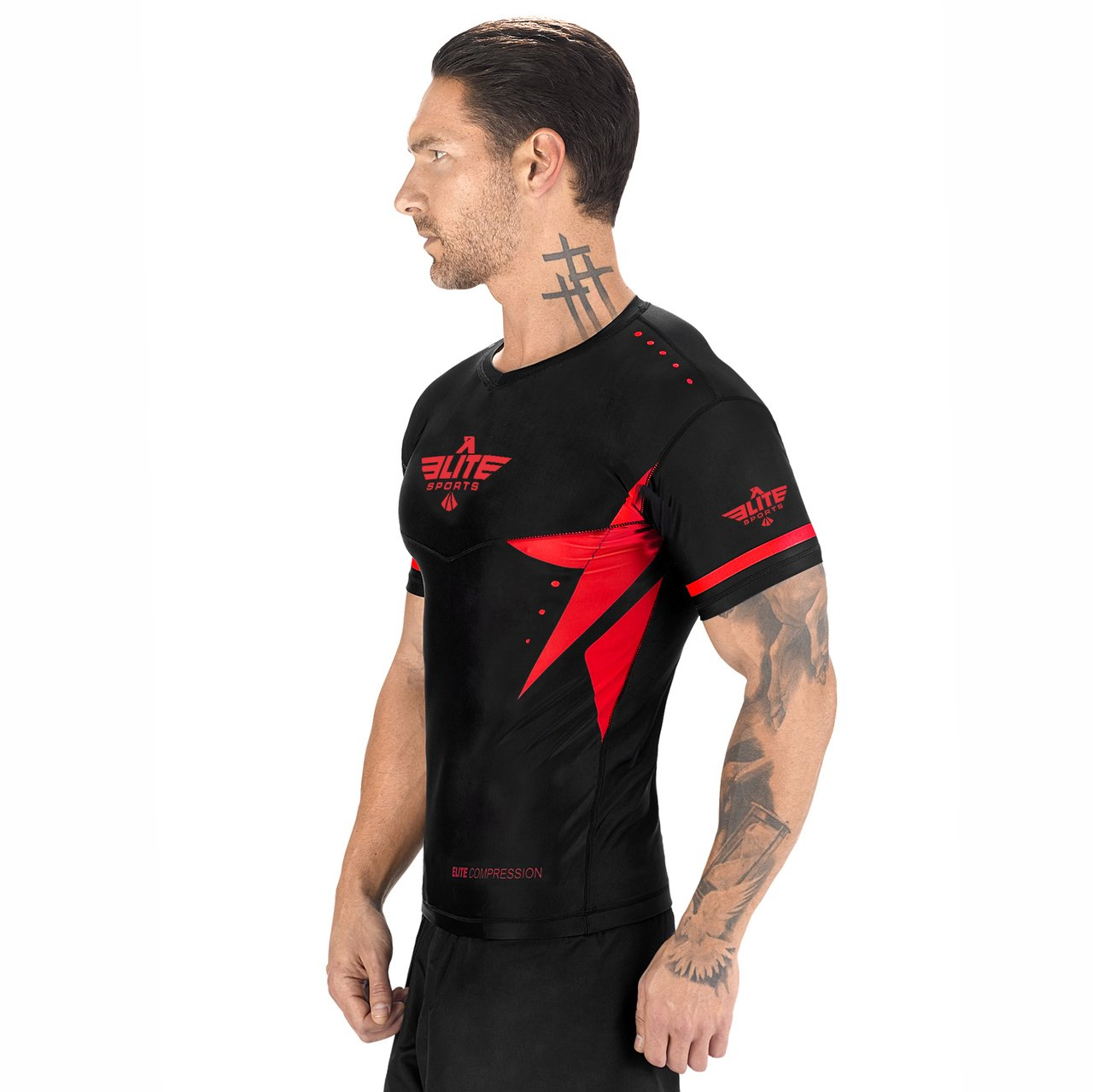 Load image into Gallery viewer, Elite Sports Star Series Sublimation Black/Red Short Sleeve Brazilian Jiu Jitsu BJJ Rash Guard