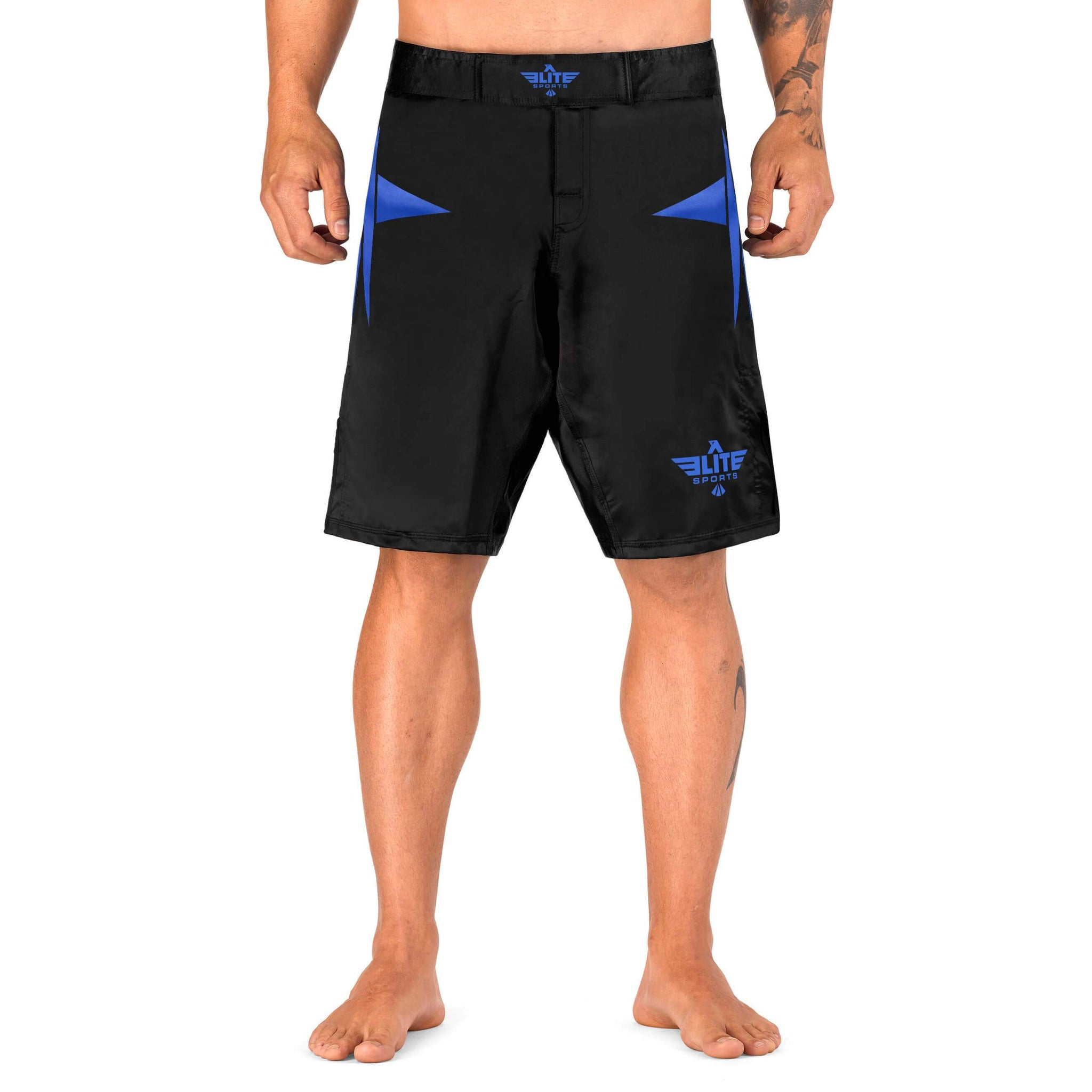 Load image into Gallery viewer, Elite Sports Star Series Sublimation Black/Blue Brazilian Jiu Jitsu BJJ No Gi Shorts