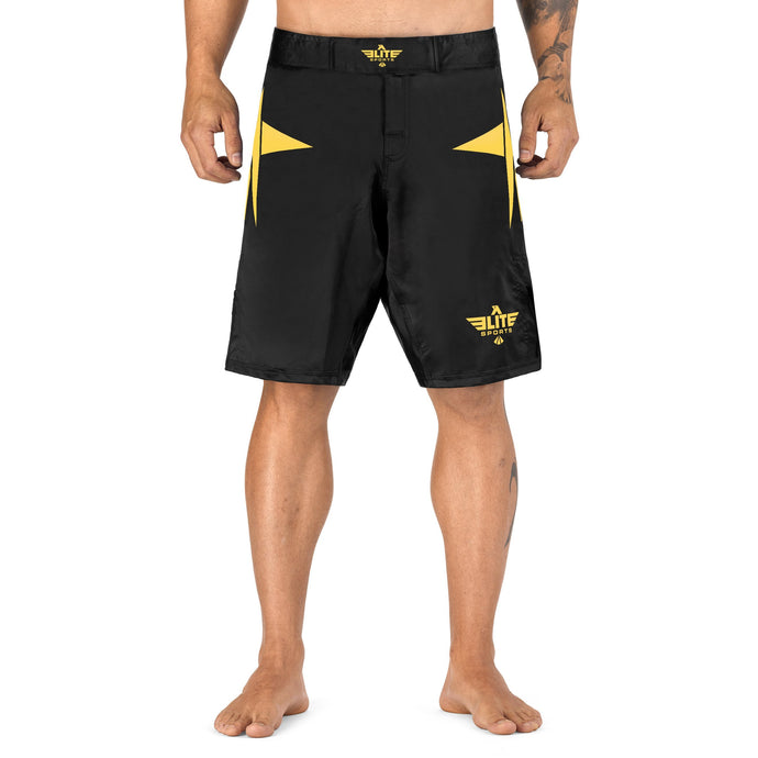 Elite Sports Star Series Sublimation Black/Gold Wrestling Shorts