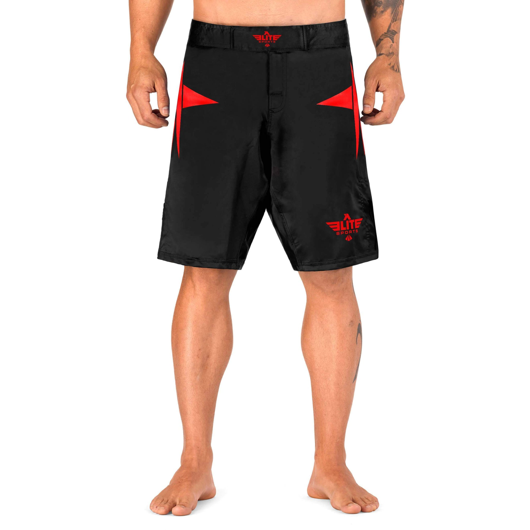 Load image into Gallery viewer, Elite Sports Star Series Sublimation Black/Red Wrestling Shorts
