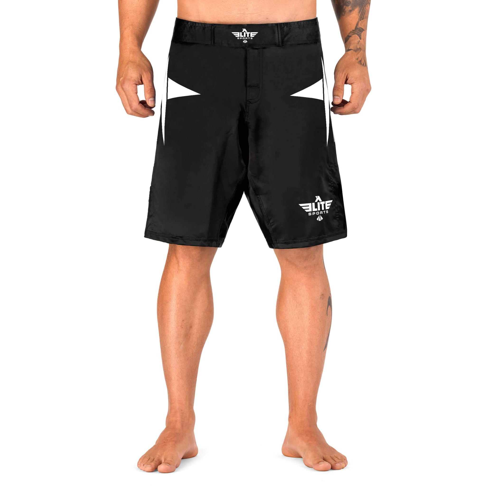 Load image into Gallery viewer, Elite Sports Star Series Sublimation Black/White Wrestling Shorts