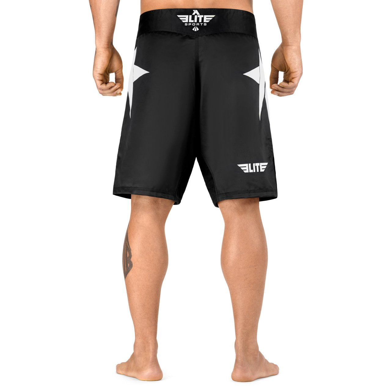 Load image into Gallery viewer, Elite Sports Star Series Sublimation Black/White MMA Shorts