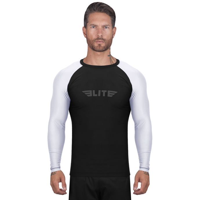 Elite Sports Standard Black/White Long Sleeve Brazilian Jiu Jitsu BJJ Rash Guard