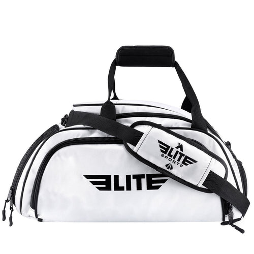 Elite Sports Warrior Series White Large Duffel Boxing Gear Gym Bag & Backpack
