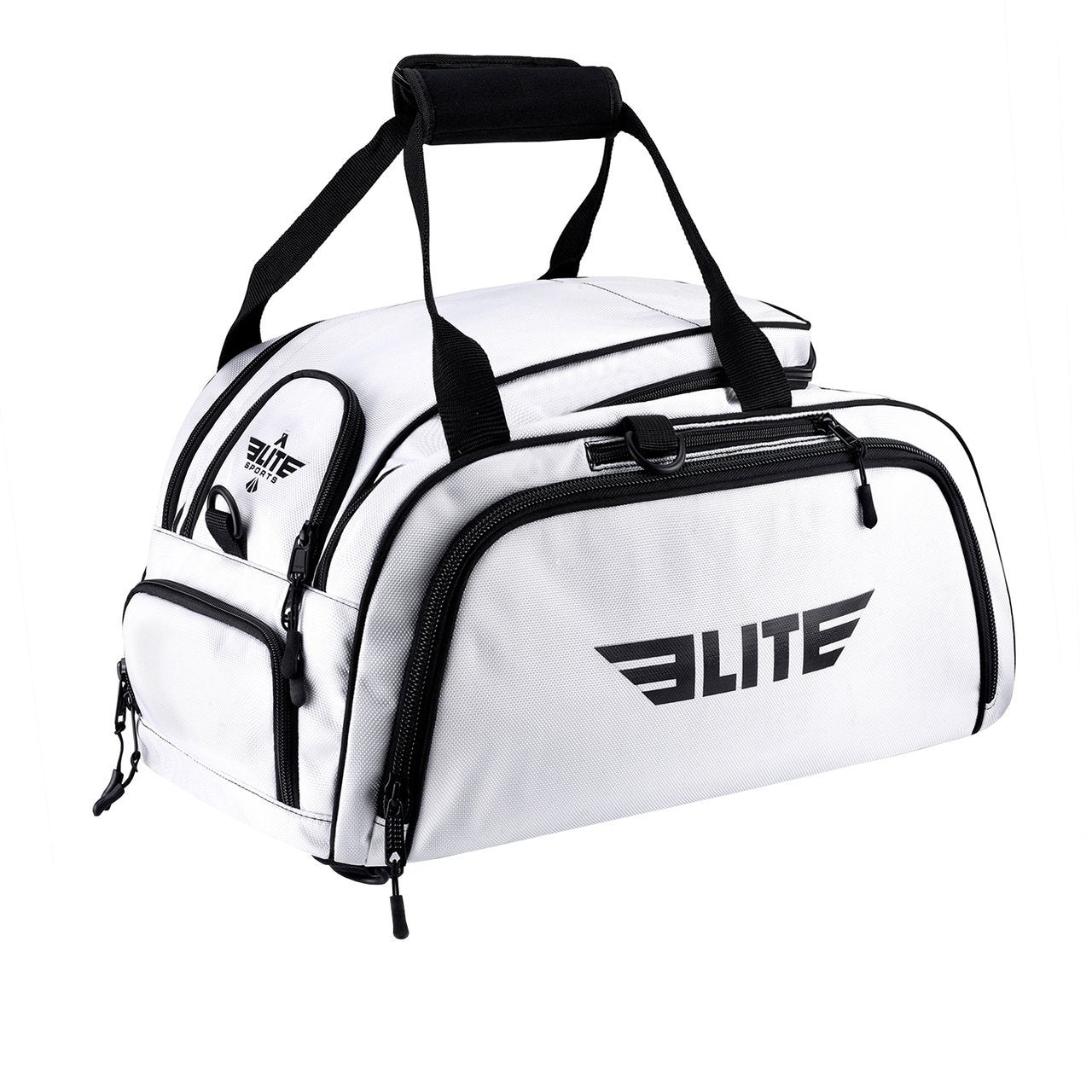 Load image into Gallery viewer, Elite Sports Warrior Series White Medium Duffel Boxing Gear Gym Bag & Backpack