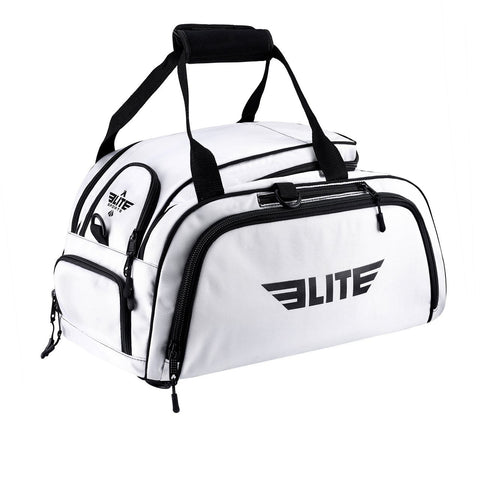 Elite Sports Warrior Series White Medium Duffel Boxing Gear Gym Bag & Backpack