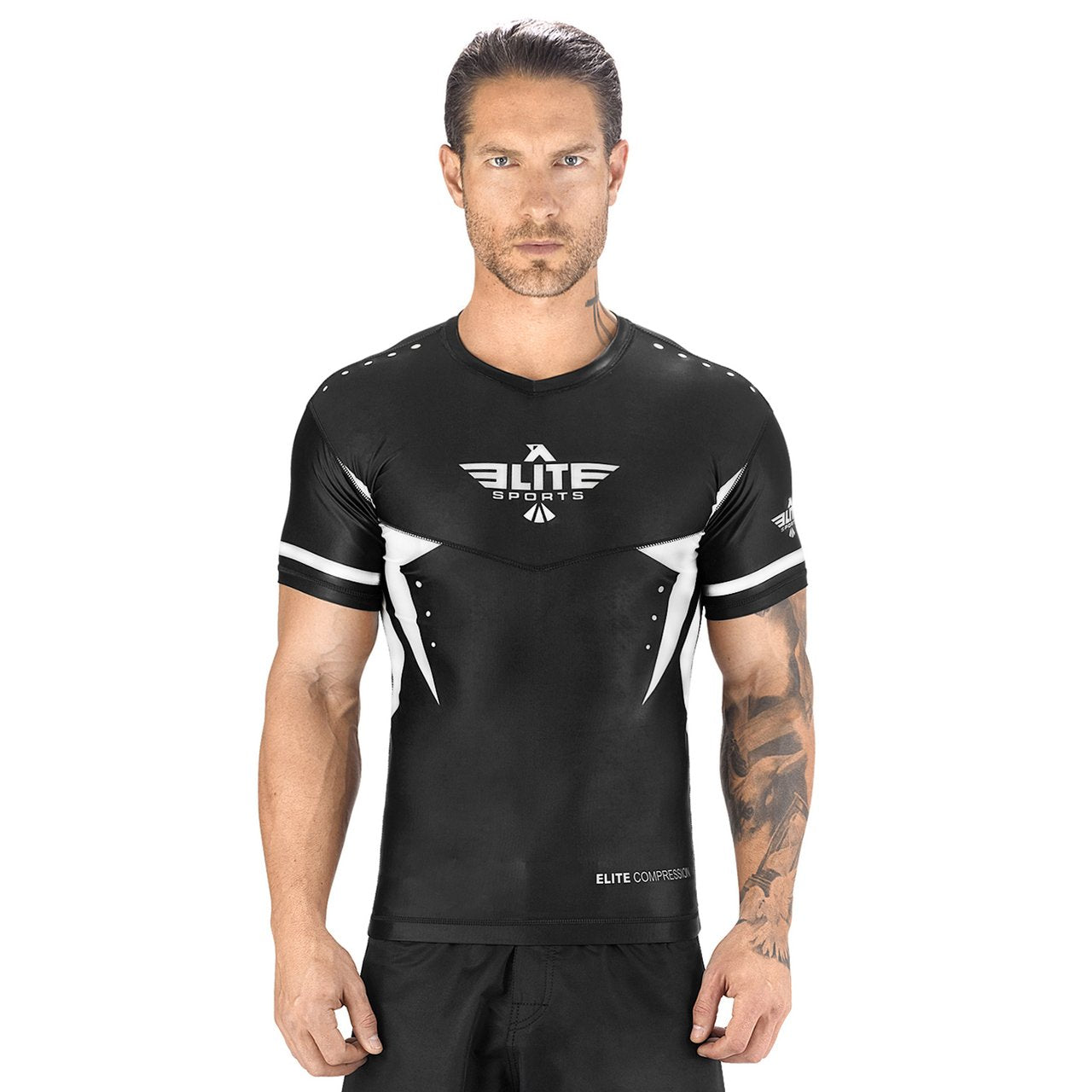 Load image into Gallery viewer, Elite Sports Star Series Sublimation Black/White Short Sleeve MMA Rash Guard