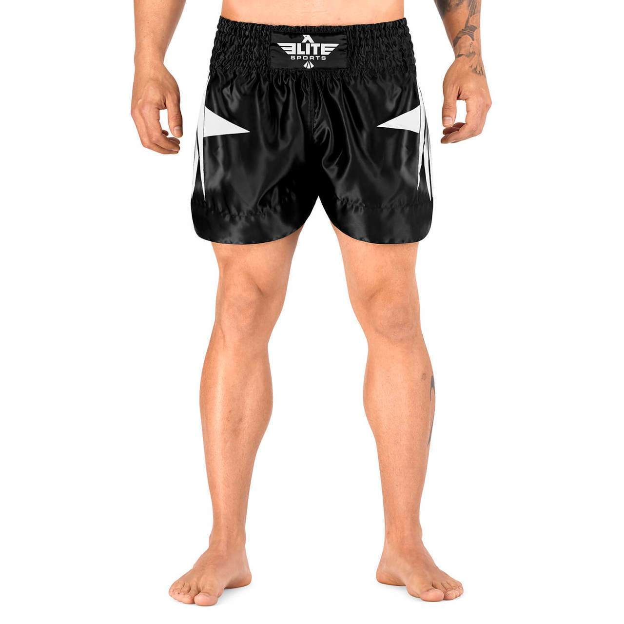 Elite Sports Star Series Sublimation Black/White Muay Thai Shorts