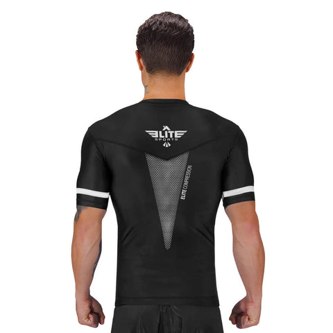 Elite Sports Star Series Sublimation Black/White Short Sleeve Muay Thai Rash Guard