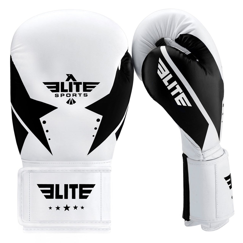 Elite Sports Star Series White/Black Adult Boxing Gloves