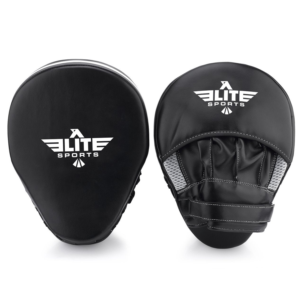 Load image into Gallery viewer, Elite Sports Essential Curved Black/White Training Punching Mitts