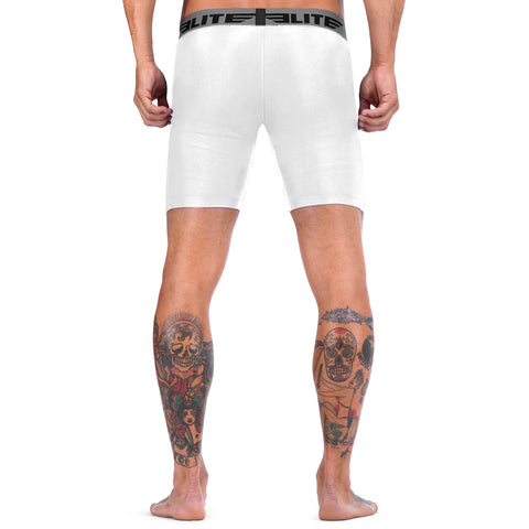Elite Sports White Compression Wrestling Shorts