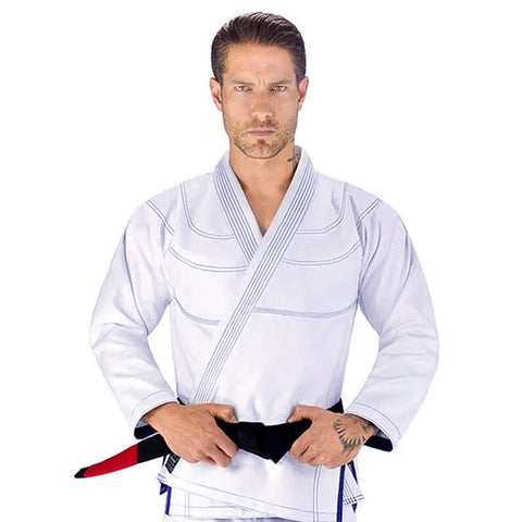 Elite Sports Essential Ultra Light Preshrunk White Adult Brazilian Jiu Jitsu BJJ Gi With Free White Belt