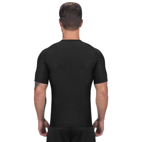 Elite Sports Standard Black Short Sleeve MMA Rash Guard
