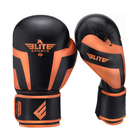 Elite Sports Standard Series Black/Orange Adult Boxing Gloves