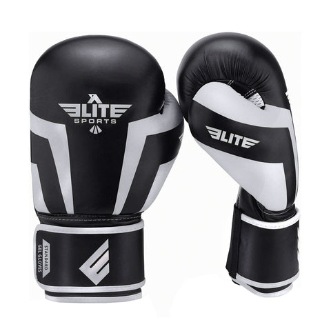 Elite Sports Standard Series Black/Gray Adult Boxing Gloves