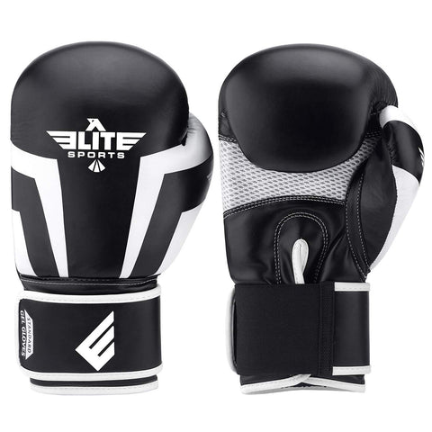 Elite Sports Standard Series Black/White Adult Boxing Gloves