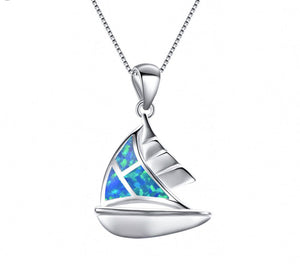 Elegant Sailboat with  Blue Fire Opal and Sterling Silver Necklace