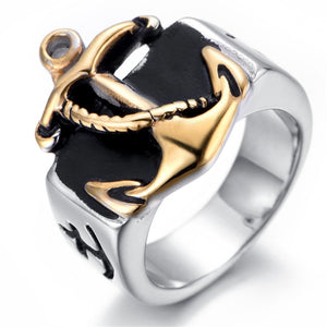 Silver and Gold Men's Anchor Navy  Stainless Steel Ring