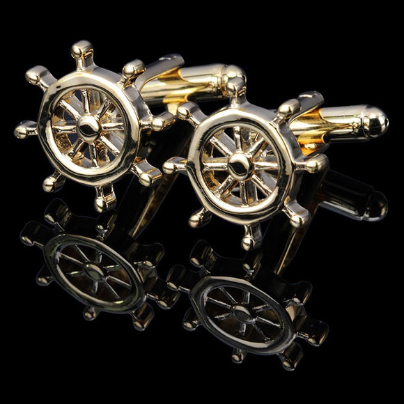 Ship Steering Wheel Cuff Links for Men