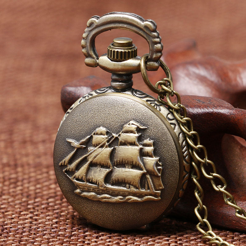 Vintage Bronze 3D Sailboat Design Pocket Watch and Necklace