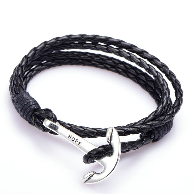 Pu Leather Bracelet with Silver Anchor
