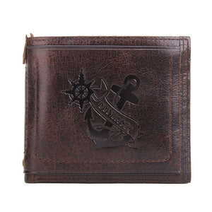 Genuine Leather Anchor Printed Design  Wallet