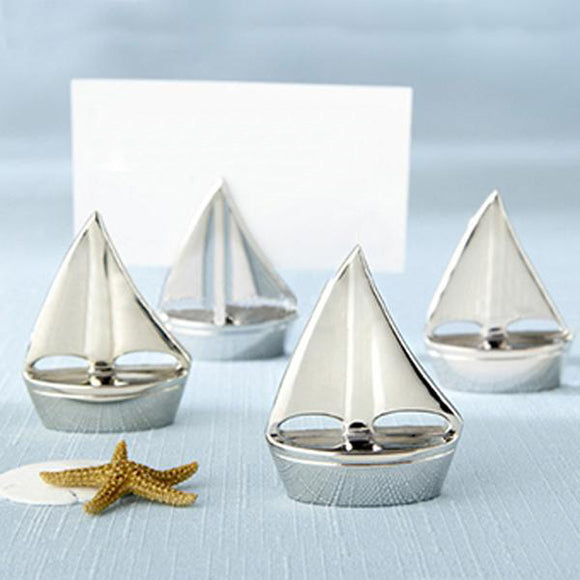 Silver Sailboat Place holder table Decoration Set