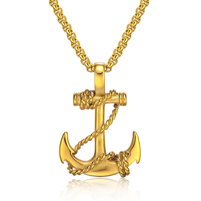 Gold Anchor Nautical Pendant Necklace For Men