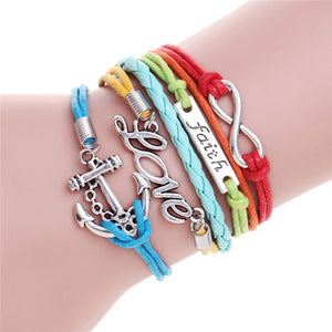 Stylish Rainbow Anchor Charm Bracelet