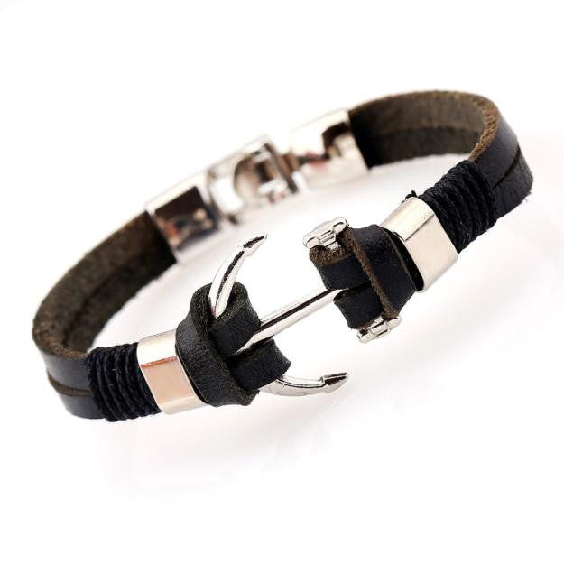 High Quality Genuine Leather Black Anchor Bracelet For Men