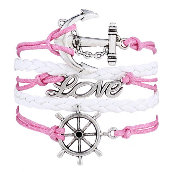 Multilayer Bracelet with Charms and Leather Weave