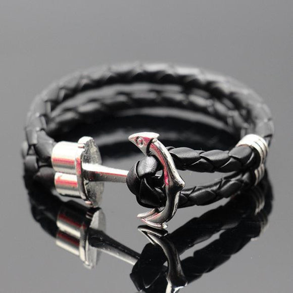 Unisex Multilayer Leather Handmade Cuff Wristband Anchor Bracelet