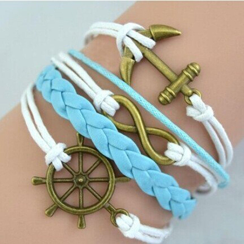 Handmade Bracelet, Adjustable with Rudder, Anchor Charms