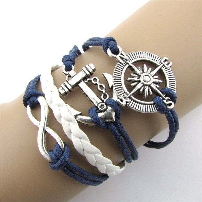 Hot Infinity Love Anchor Compass Leather Charm Bracelet