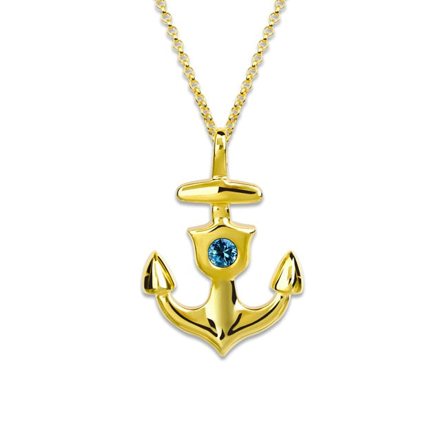 Birthstone Necklace with Anchor Pendant