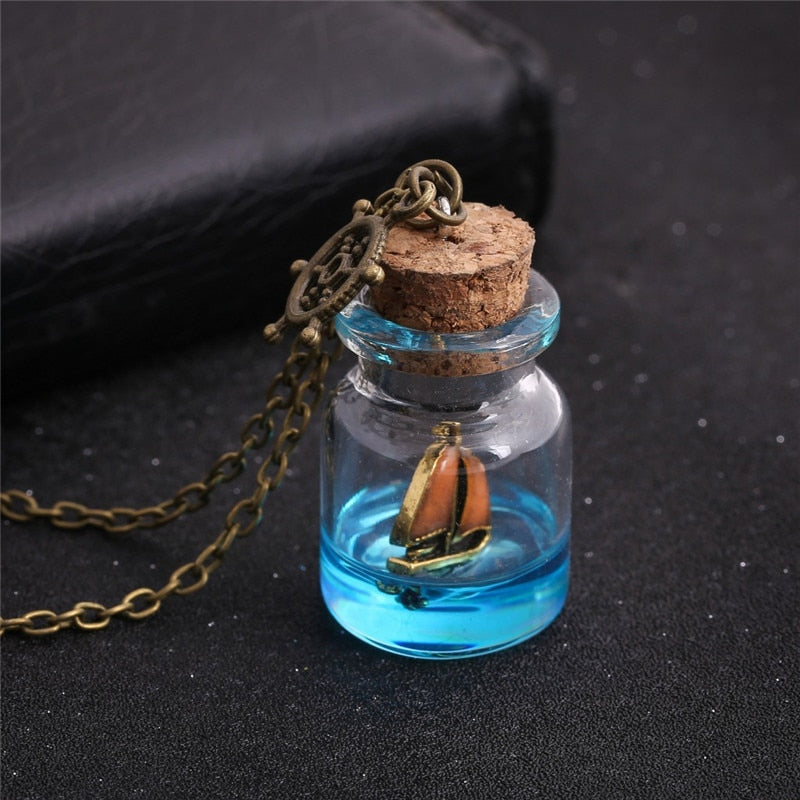 Luminous Drifting  Sailboat in a Bottle Pendant Necklace