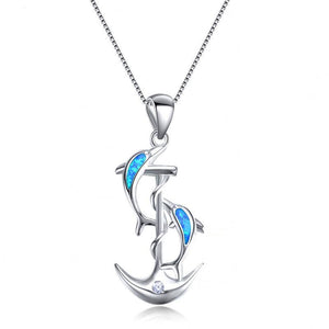 Sterling Silver Dolphin & Anchor Pendants Blue & White Fire Opal