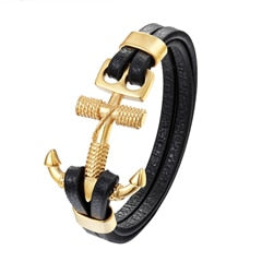 Quality Stainless Steel, Genuine Leather Gold & Silver Anchor Bracelet - Modify
