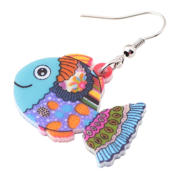 WEVENI Lightweight Adorable Drop Dangle Long Big Fish Earrings New Fashion Accessories Ocean Animal Acrylic Jewelry For Girl
