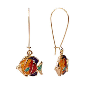 Gold colorful fish enamel earrings sea animal jewelry fish drop earing women earrings for 2018 summer